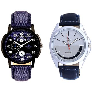 Denim Finish Blue With Smile Silver Black SCK Combo Gallery Wrist Watch