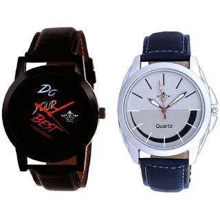 Do Your Best With Smile Silver Black SCK Combo Gallery Wrist Watch