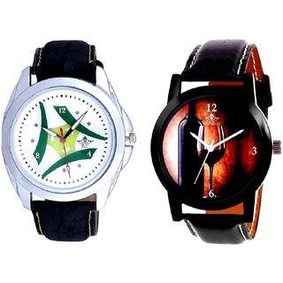 Glassy Classic Style With Green Tri Fan Stylish SCK Combo Gallery Wrist Watch