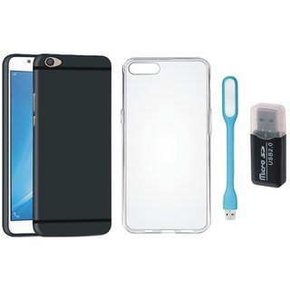 Samsung C9 Pro Stylish Back Cover with Memory Card Reader, Silicon Back Cover, USB LED Light