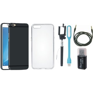 Samsung C9 Pro Stylish Back Cover with Memory Card Reader, Silicon Back Cover, Selfie Stick, USB LED Light and AUX Cable