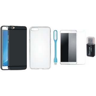 Samsung J7 Pro Silicon Anti Slip Back Cover with Memory Card Reader, Silicon Back Cover, Tempered Glas and USB LED Light
