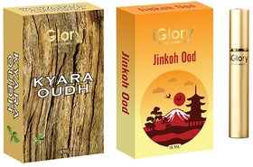 BEST OUDH-ATTAR COMBO, LONG LASTING FOR MEN AND WOMEN, ALCOHOL FREE - KYARA OUDH AND JINKOH OOD - 20ML
