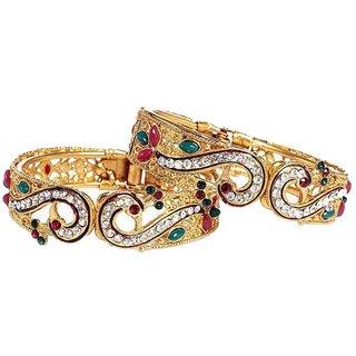 Riya Gold Plated Bangles with silver diamond