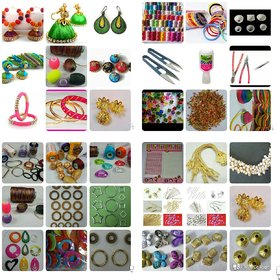 65 pieces,  Silk thread Jewellery Making  Kit with instruction book