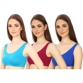 Hothy Women's Non-Padded Sports Bra (Cyan,Maroon  Blue Pack Of 3)