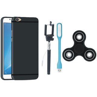 Motorola Moto C Silicon Slim Fit Back Cover with Spinner, Selfie Stick and USB LED Light