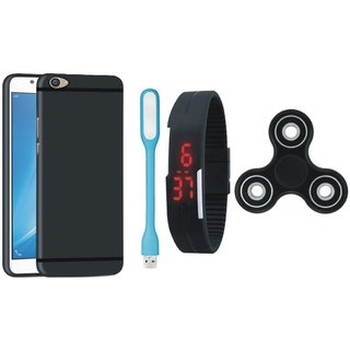 Samsung C9 Pro Silicon Anti Slip Back Cover with Spinner, Digital Watch and USB LED Light