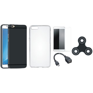 Motorola Moto C Silicon Anti Slip Back Cover with Spinner, Silicon Back Cover, Tempered Glass and OTG Cable