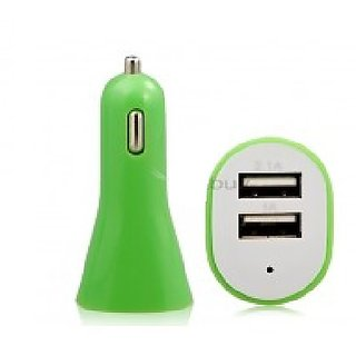 Dual USB Car Charger for mobile phones (Assorted Colors) by KSJ Accessories