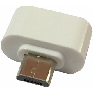 Mini OTG Adopter for Micro USB Mobile Phones (White Color) by KSJ Accessories