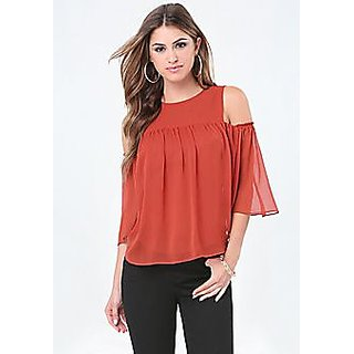 5b2dfc9805773 Buy Raabta Fashion Peach GGT Cold Shoulder Top with Bell Sleeve ...