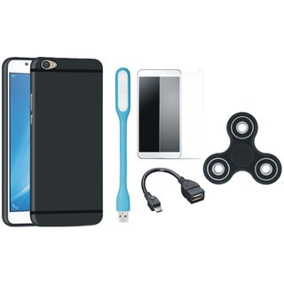 Samsung C9 Pro Soft Silicon Slim Fit Back Cover with Spinner, Tempered Glass, USB LED Light and OTG Cable