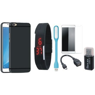 Samsung C9 Pro Back Cover with Memory Card Reader, Free Digital LED Watch, Tempered Glass, LED Light and OTG Cable