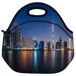 White Burj Khalifa Travel Outdoor Tote Lunch Bag