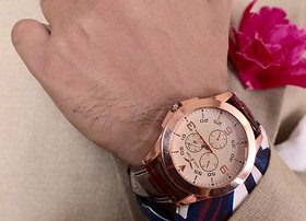 MH3 Mens Round Dial Leather Strap Watch