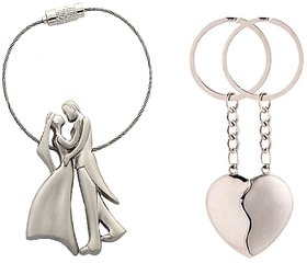 combo of Romantic Couple and broken heart Key Chain
