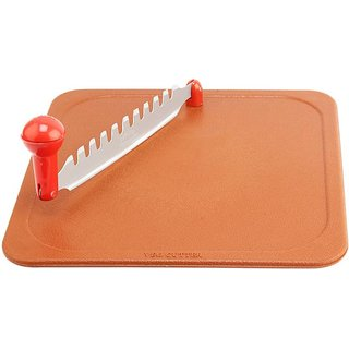 SNR Stainless Steel Vegetable Cutter Plastic Cutting Board  (Brown Pack of 1)