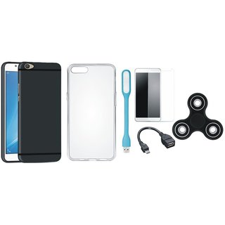 Samsung C9 Pro Silicon Slim Fit Back Cover with Spinner, Silicon Back Cover, Tempered Glass, USB LED Light and OTG Cable