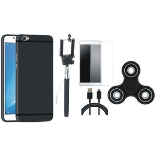 Samsung C9 Pro Soft Silicon Slim Fit Back Cover with Free Spinner, Selfie Stick, Tempered Glass and USB Cable