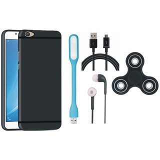 Samsung C9 Pro Soft Silicon Slim Fit Back Cover with Spinner, Earphones, USB LED Light and USB Cable