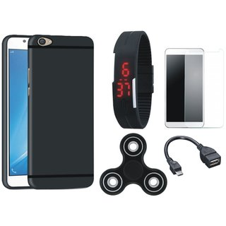 Motorola Moto C Soft Silicon Slim Fit Back Cover with Free Spinner, Digital LED Watch, Tempered Glass and OTG Cable