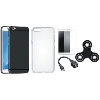 Motorola Moto C Silicon Slim Fit Back Cover with Spinner, Silicon Back Cover, Tempered Glass and OTG Cable