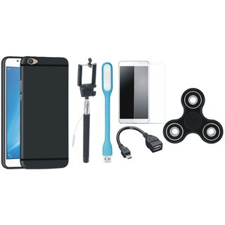 Samsung C9 Pro Silicon Slim Fit Back Cover with Free Spinner, Selfie Stick, Tempered Glass, LED Light and OTG Cable
