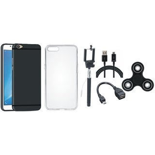 Samsung C9 Pro Stylish Back Cover with Spinner, Silicon Back Cover, Selfie Stick, OTG Cable and USB Cable