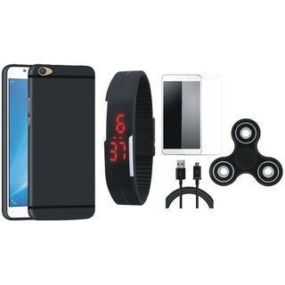 Samsung C9 Pro Silicon Anti Slip Back Cover with Free Spinner, Digital LED Watch, Tempered Glass and USB Cable