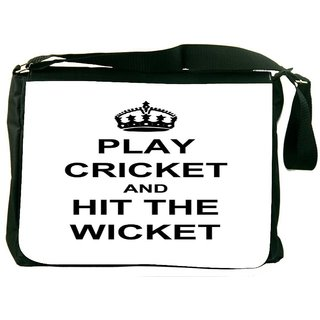 Play Cricket And Hit Wicket White Digitally Printed Laptop Messenger  Bag