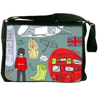 London Doodles Designer Laptop Messenger Bag