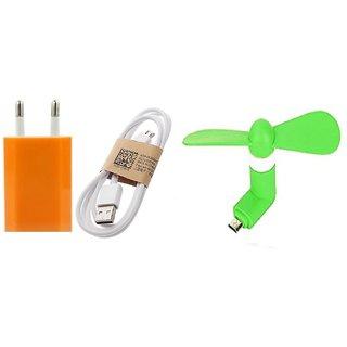 (Tricolor combo No 20) Usb Adopter, Data Cable  V8 Mini Fan by KSJ Accessories