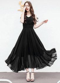 Westchic Plain Black Georgette Maxi Dress for Women/Girl