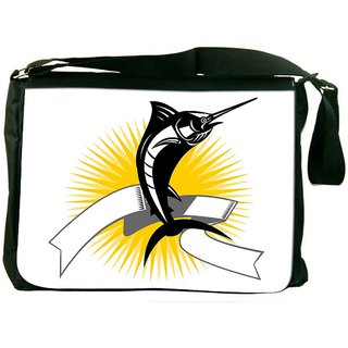 Blue Marlin Jumping Digitally Printed Laptop Messenger  Bag