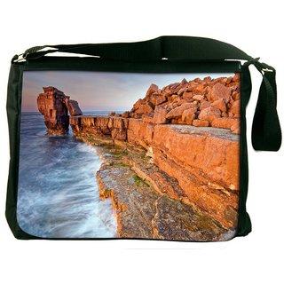 Brown Mountain Digitally Printed Laptop Messenger  Bag
