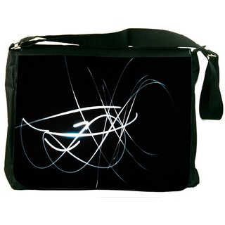 White Lines In Black Digitally Printed Laptop Messenger  Bag