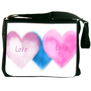 Pink Love Digitally Printed Laptop Messenger  Bag