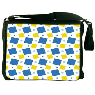 Blue And Yellow Blocks Digitally Printed Laptop Messenger  Bag