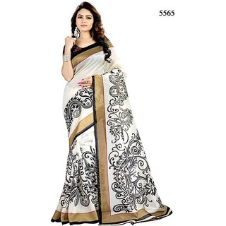 Yuvanika white colour Bhagalpuri Silk floral Saree With Blouse