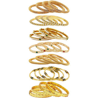 Aabhu Fancy Design Antique Gold Plated Bangle Kada Bracelet Set Jewellery Combo of 14 Pair for Women Girl