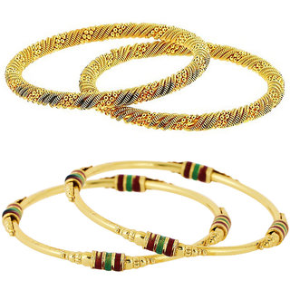 Aabhu Traditional Gold Plated Designer Bangles Kada Jewellery Combo of 2 Pair for Women and Girls