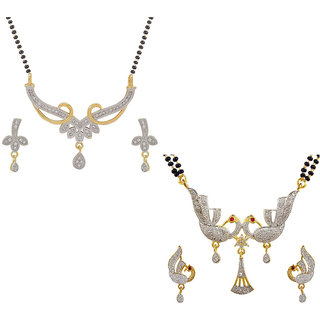 Aabhu Conventional Combo of 2 Amercian Diamond Mangalsutra with Earrings Jewellery Set for Women