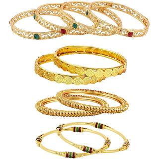 Aabhu Fancy Design Antique Gold Plated Bangle Kada Bracelet Set Jewellery Combo of 5 Pair for Women Girl