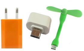 (Tricolor combo No 25) 3 in 1 combo of USB Adopter, Otg Adaptor  Usb Fan by KSJ Accessories