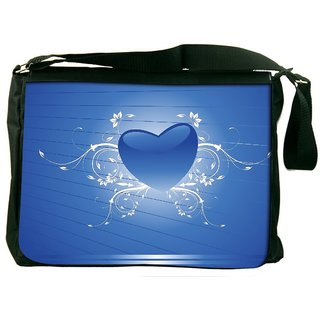 Blue Heart Shape With Floral Art Designer Laptop Messenger Bag