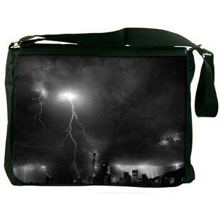 Black Thunder Digitally Printed Laptop Messenger  Bag