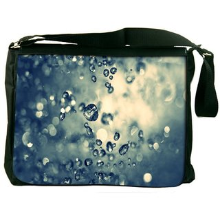 Water Drops Digitally Printed Laptop Messenger  Bag