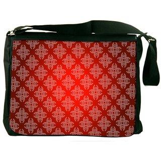 Dark Red Pattern Digitally Printed Laptop Messenger  Bag