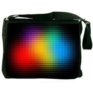 Black Background Digitally Printed Laptop Messenger  Bag